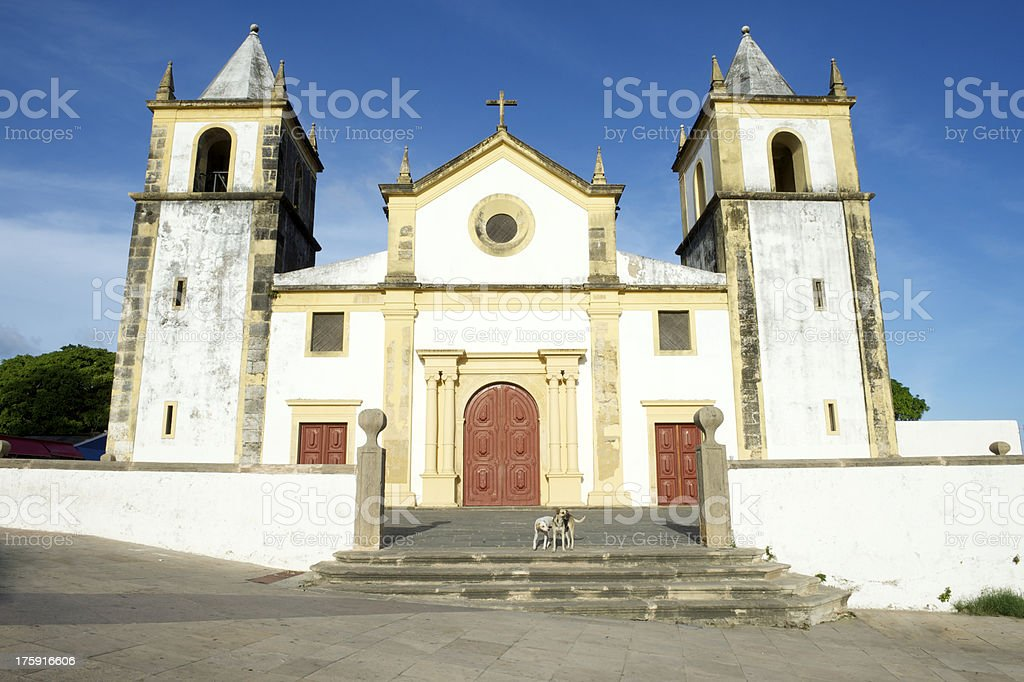 Weathered Colonial Church Bright Sky Olinda Brazil royalty-free stock photo