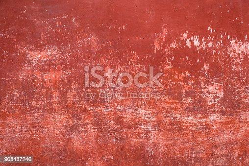 Close-up texture background image of a weathered concrete wall in Antigua, Guatemala..