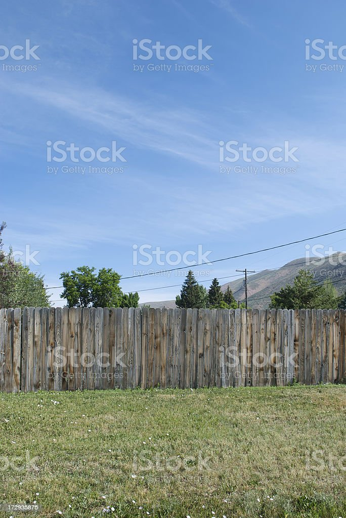 Weathered Fence Tree Tops Dry Lawn royalty-free stock photo