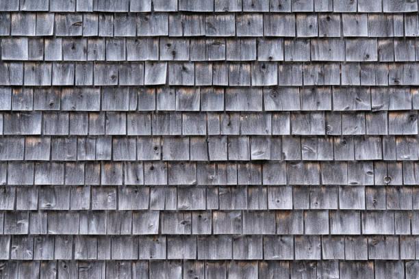 Weathered Gray Cedar Shingle Wall stock photo