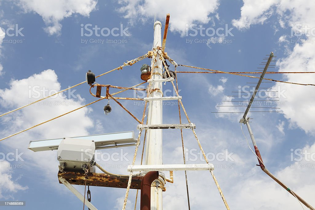 weathered mast with sailing ship takelage against blue sky royalty-free stock photo