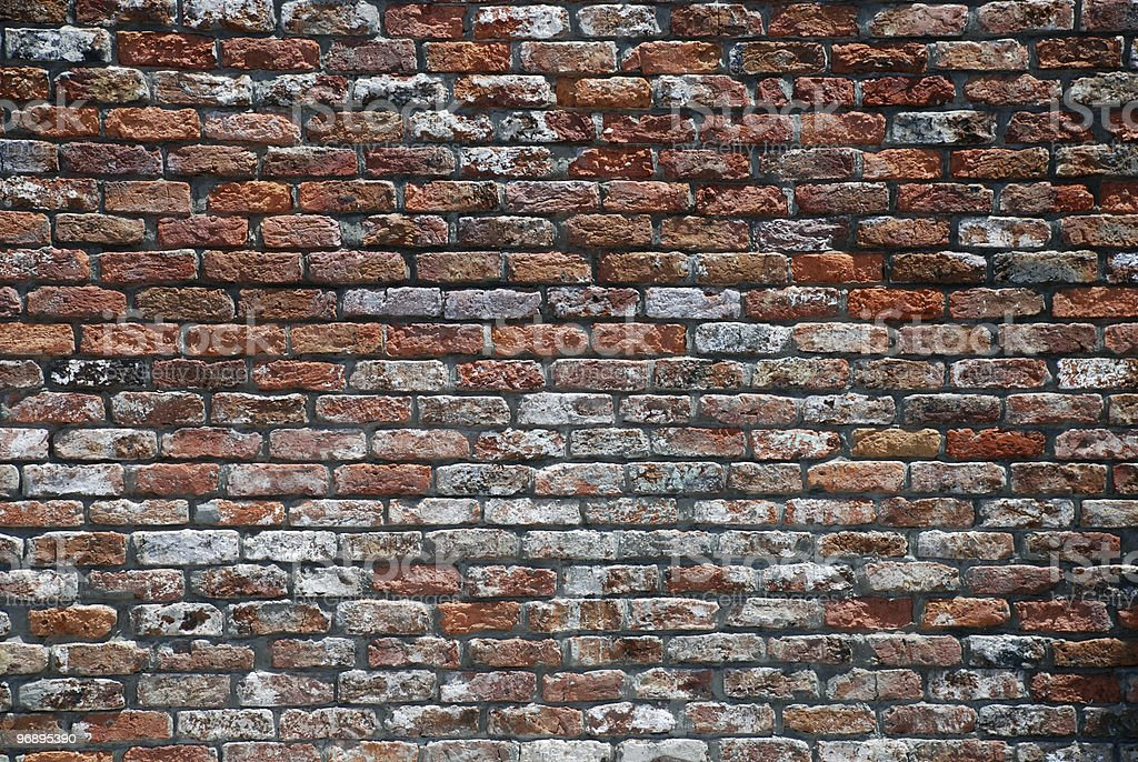 Weathered old red brick wall. royalty-free stock photo