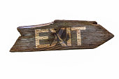 istock Weathered old wood Exit signpost 1271159625