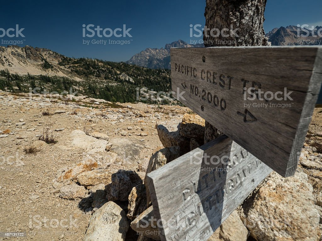 Weathered PCT sign stock photo
