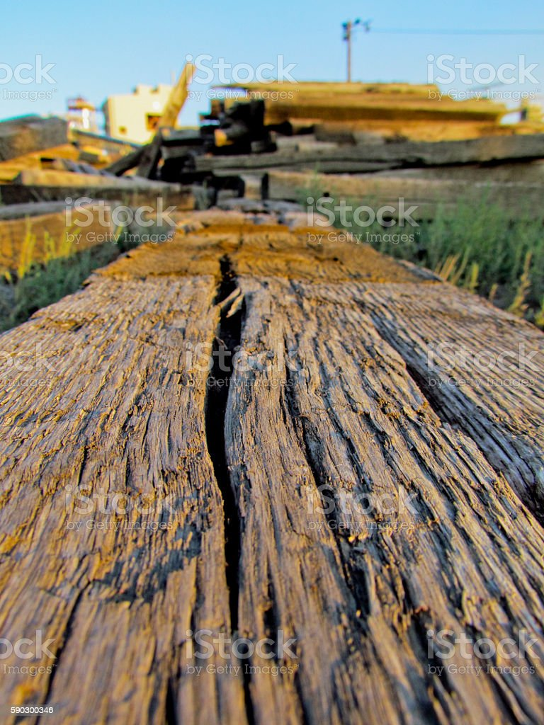 Weathered railroad ties royaltyfri bildbanksbilder