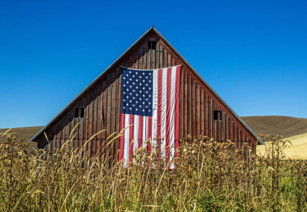 Weathered Red Barn with American Flag stock photo
