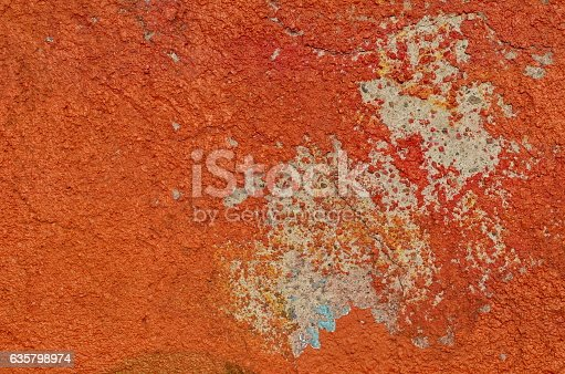 istock Weathered red paint 635798974