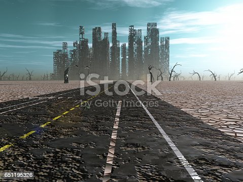 istock Weathered road leads into abandoned city 651195326