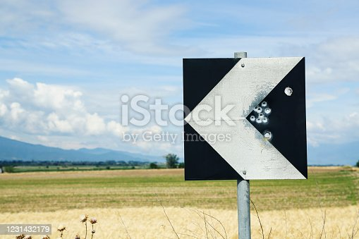 istock weathered road sign 1231432179