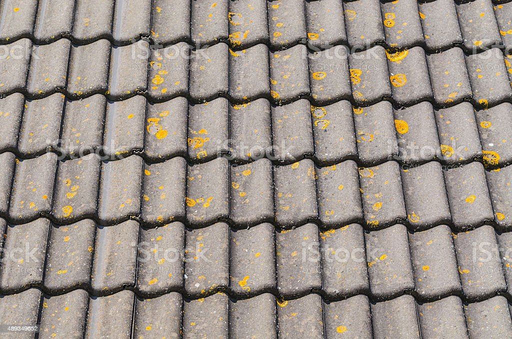 Weathered roof tiles. stock photo