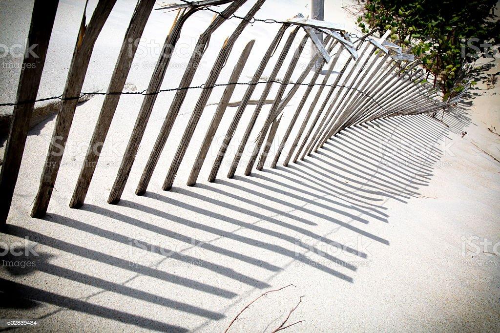 Weathered Sand Fence stock photo