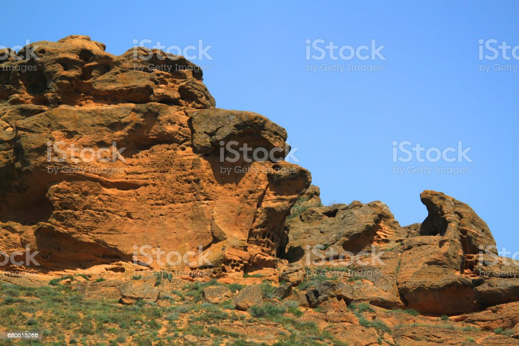 Weathered stones on Bogdo mountain stock photo