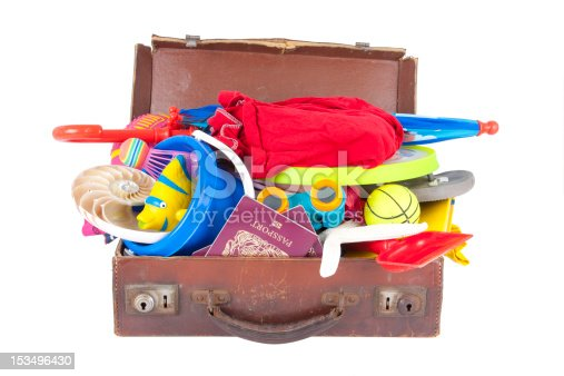 istock Weathered suitcase overflowing with vacation items 153496430
