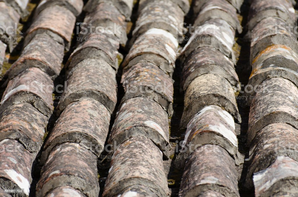 Weathered Terracotta Rooftop Close-up stock photo