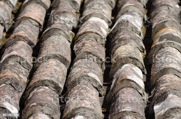 Weathered Terracotta Rooftop Close-up in Silves, Portugal, Europe