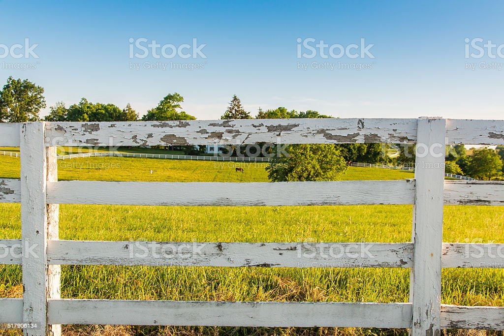 Weathered white wooden horse fence on country site stock photo