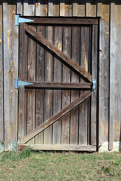 Weathered Wood Barn Door Entrance Stock Photo More