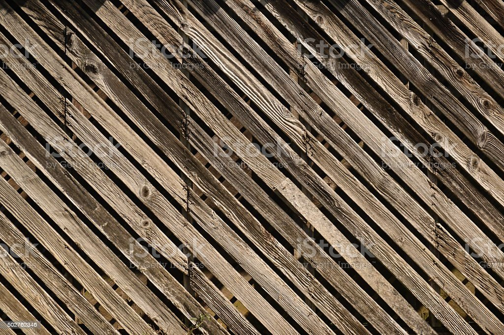 Weathered Wood Barn Plank Siding Rustic Background Diagonal Corn Crib stock photo