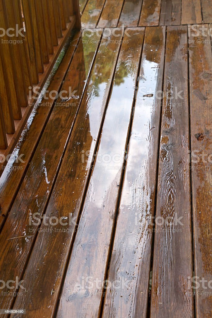 Weathered Wood Deck Close Up stock photo