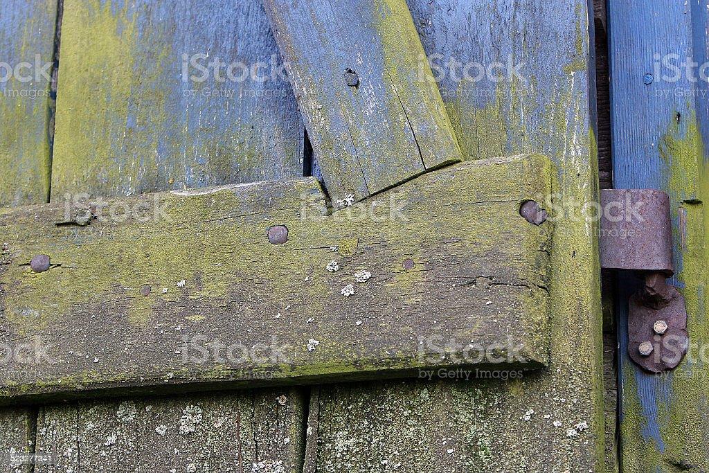Weathered wood door stock photo