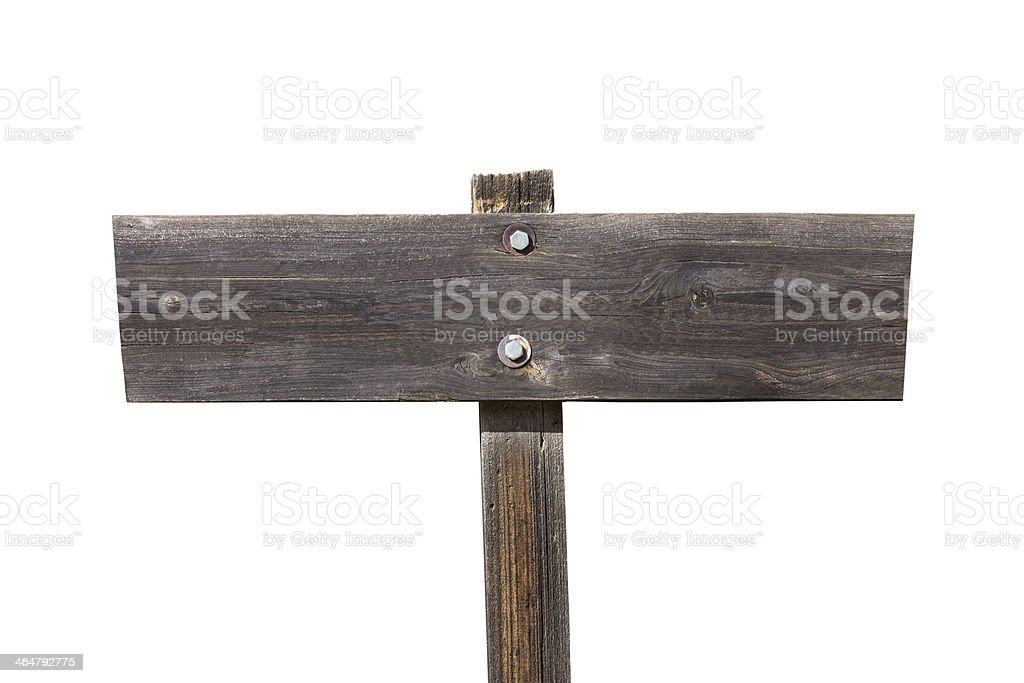 Weathered Wood Sign Isolated on White stock photo