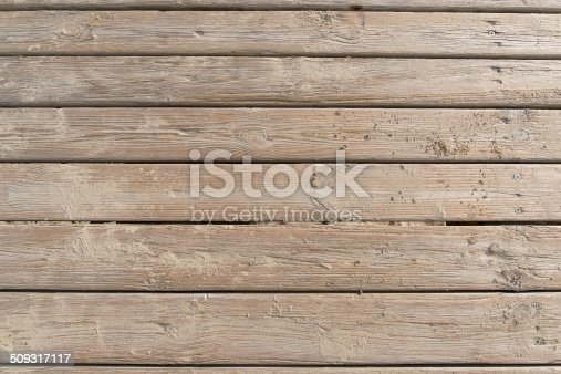 Aged beach brown wooden floor over summer sand