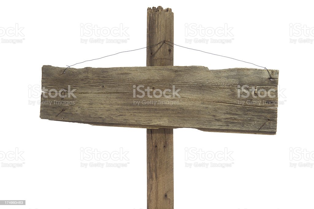 Weathered wooden sign post/hanging by wire-isolated on white stock photo
