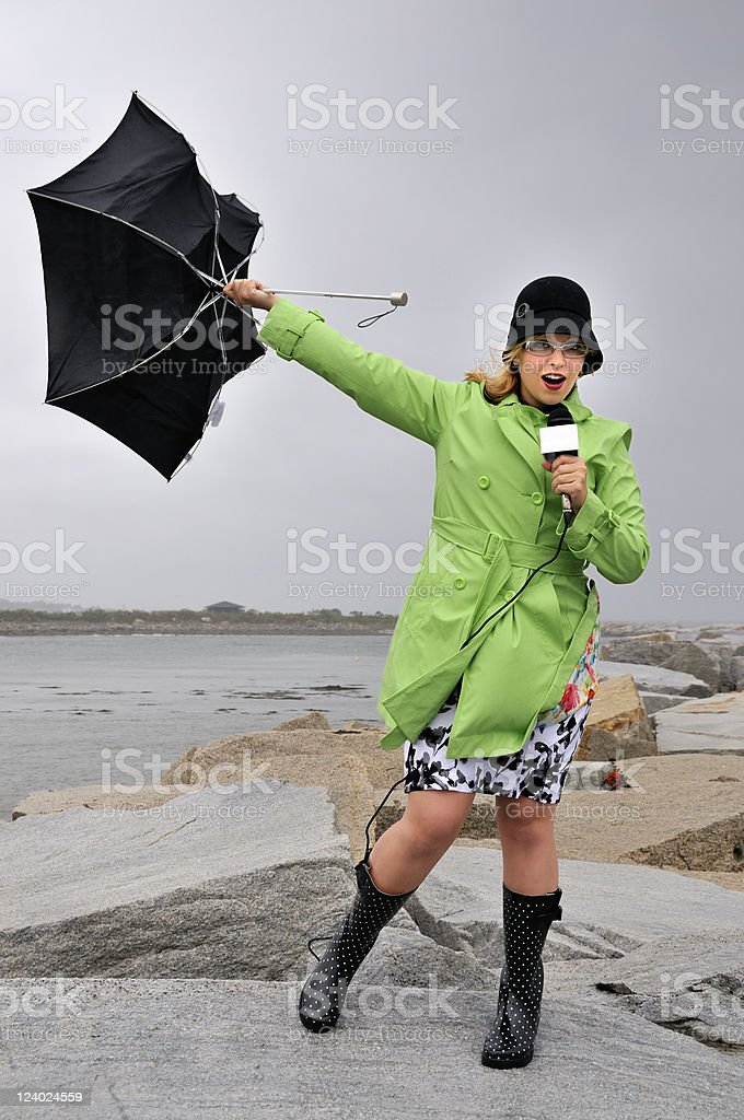 Weathergirl on Location stock photo