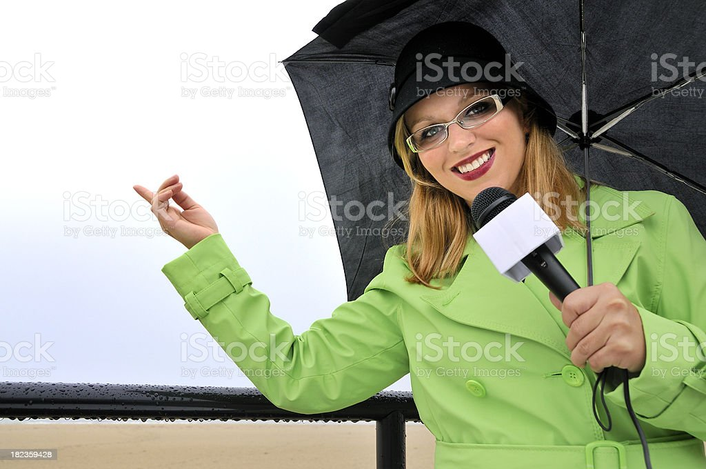 Weathergirl Smiles at Clearing Weather stock photo