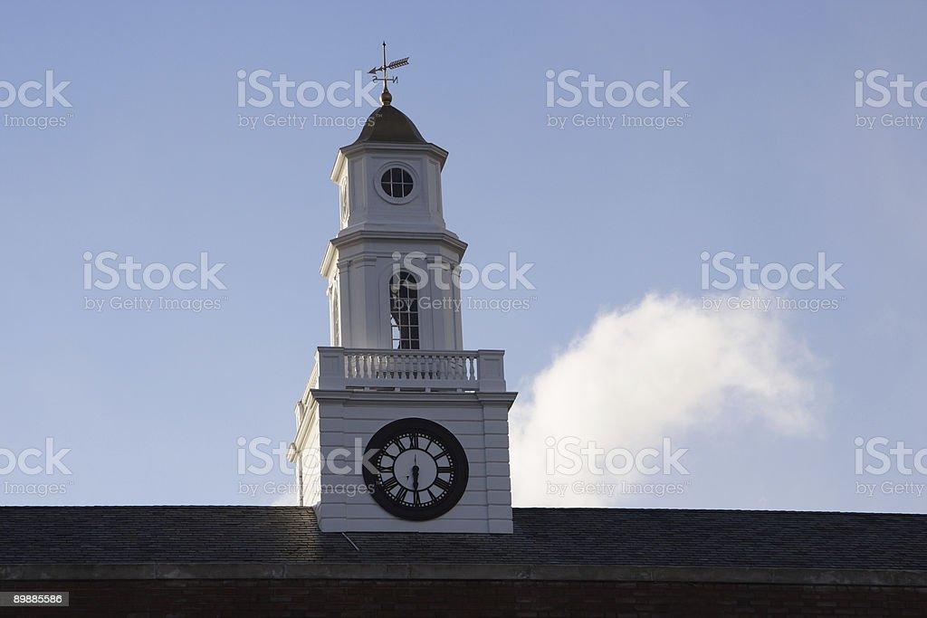 weathervane and clock on school royalty-free stock photo