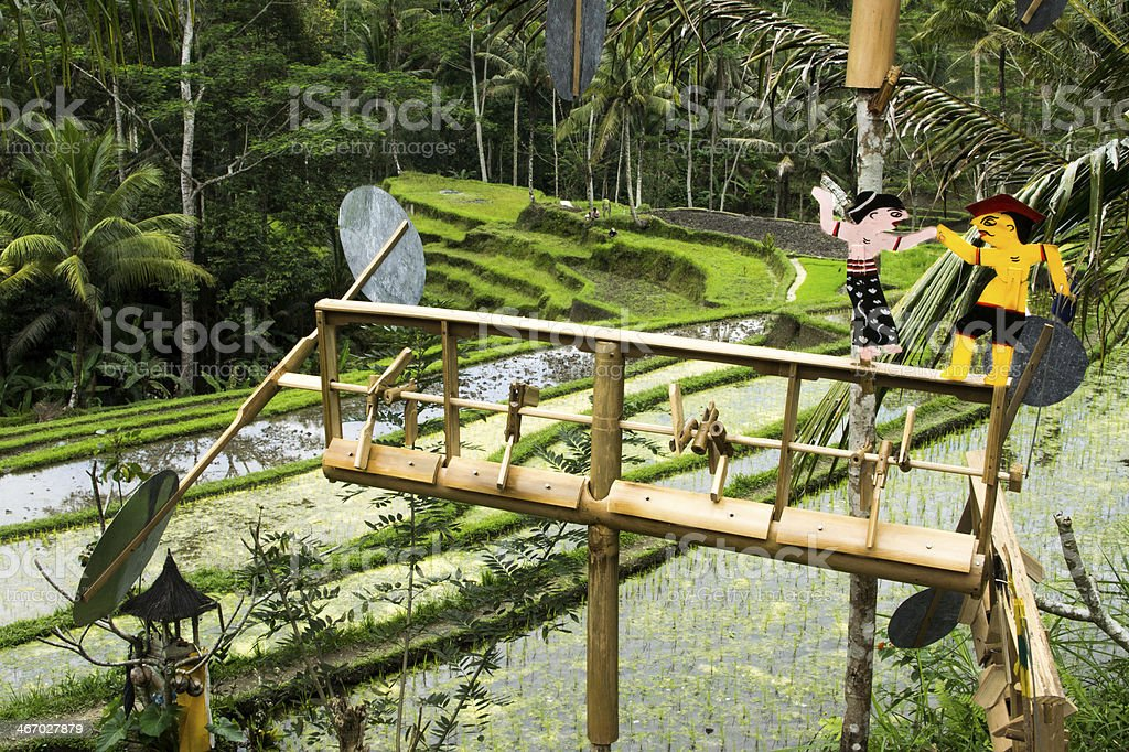 Weathervane in Balinese rice fields royalty-free stock photo