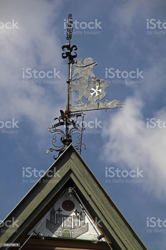 Weathervane on the Town Hall Blomberg stock photo