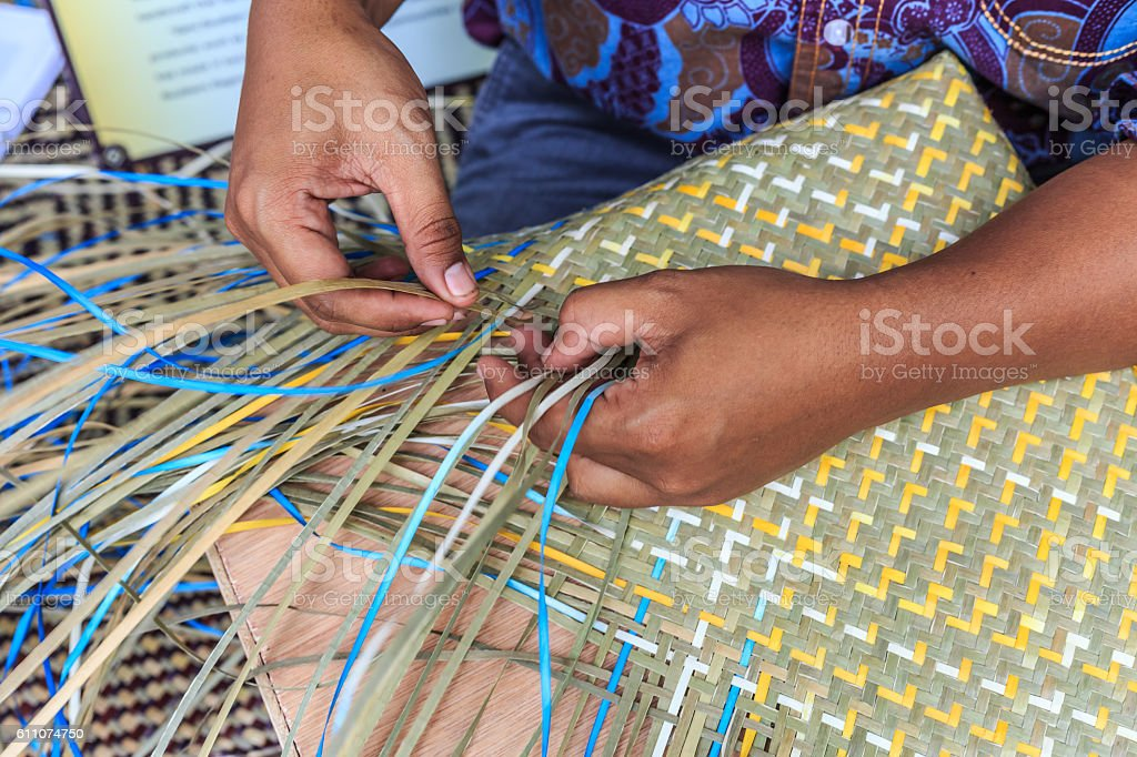 Weave pattern hand bamboo stock photo