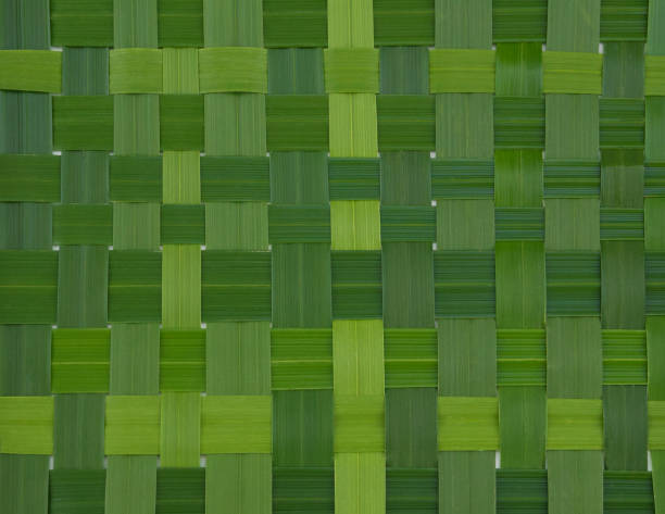 Weaved green leaves texture stock photo