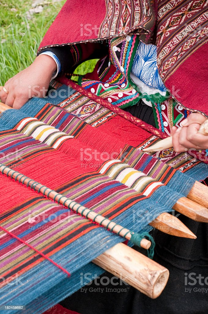 Weaving cloth in Peru royalty-free stock photo