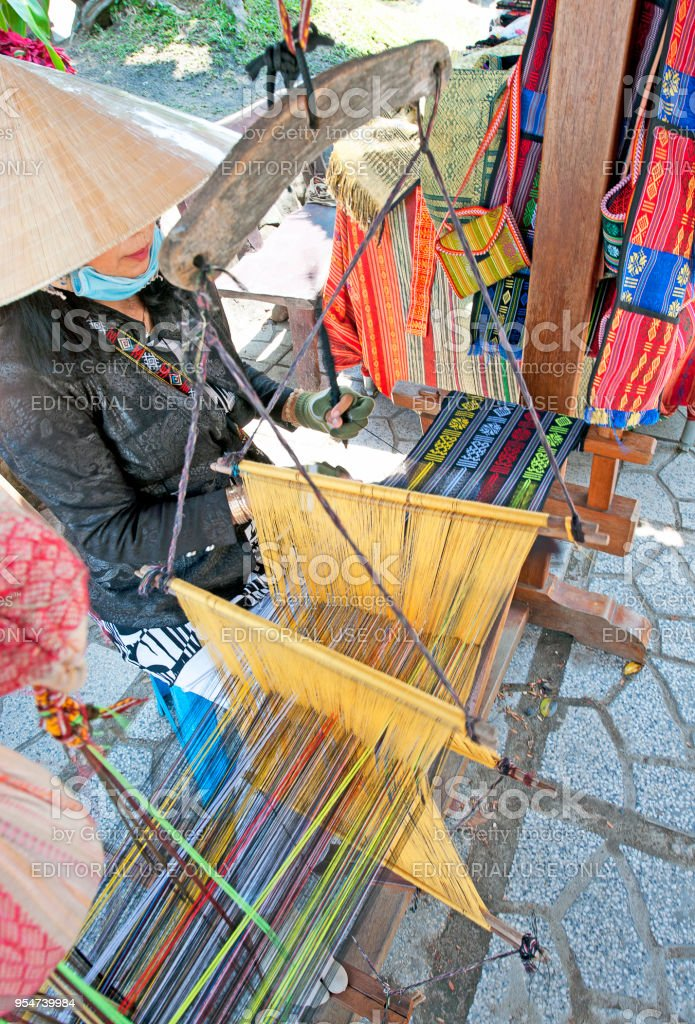 Weaving wares, Po Nagar Cham Towers, Nha Trang, Vietnam stock photo