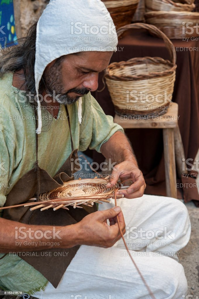 Weaving Willow Branches Into Basket Stock Photo Download Image Now Istock