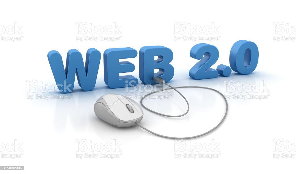 Web 2.0 3D Word and Computer Mouse - 3D Rendering stock photo