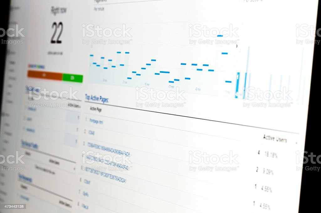 Web analytics data on computer monitor stock photo