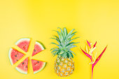 istock web banner and minimal flat lay creative design for group of summer fruits with fresh watermelon,pine apple and heliconia tropical flower on pastel color background 1144587579