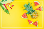 istock web banner and minimal flat lay creative design for group of summer fruits with fresh watermelon,pine apple and heliconia tropical flower on pastel color background 1162165426