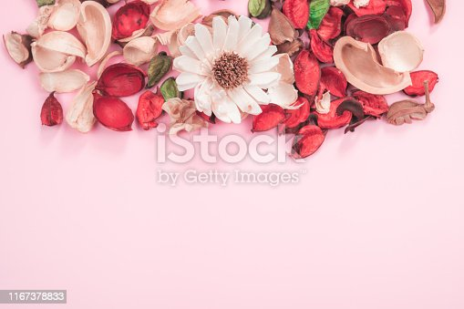 istock web banner aroma therapy and spa object in spring season by minimal flat lay style with dry tropical leaf decorate on pink vintage background with copyspace 1167378833