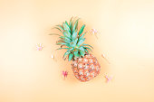 istock web banner freshness fruit and drink in summer season concept from minimal flat lay pineapple and tropical flower lay on pastel yellow blue background 1155912960