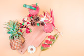 istock web banner freshness fruit and drink in summer season concept from minimal flat lay summer drink with decorate by pineapple watermelon and tropical flower lay on pastel yellow background 1160571368
