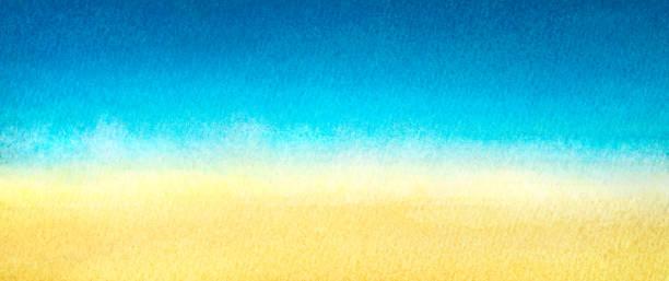 web banner hellblau bis warmen gelben abstrakte meer und strand farbverlauf gemalt in aquarell auf sauberen, weißen hintergrund - ozean kunst stock-fotos und bilder