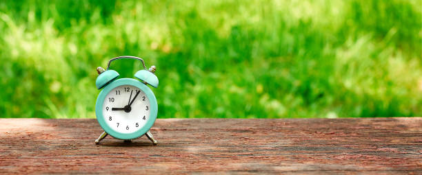 Web banner of the concept of time saving, alarm clock on the background of a Sunny meadow stock photo