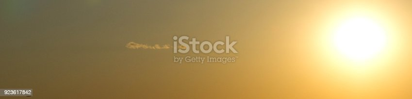 istock Web banner with aircraft and setting sun 923617842