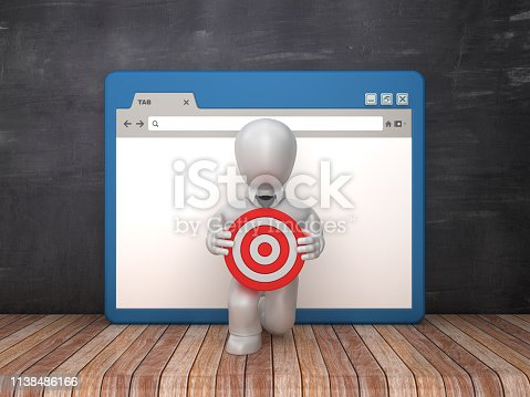 1172996896 istock photo Web Browser with Business Character and Target on Chalkboard Background  - 3D Rendering 1138486166