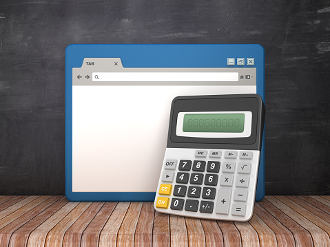 Web Browser with Calculator on Chalkboard Background  - 3D Rendering