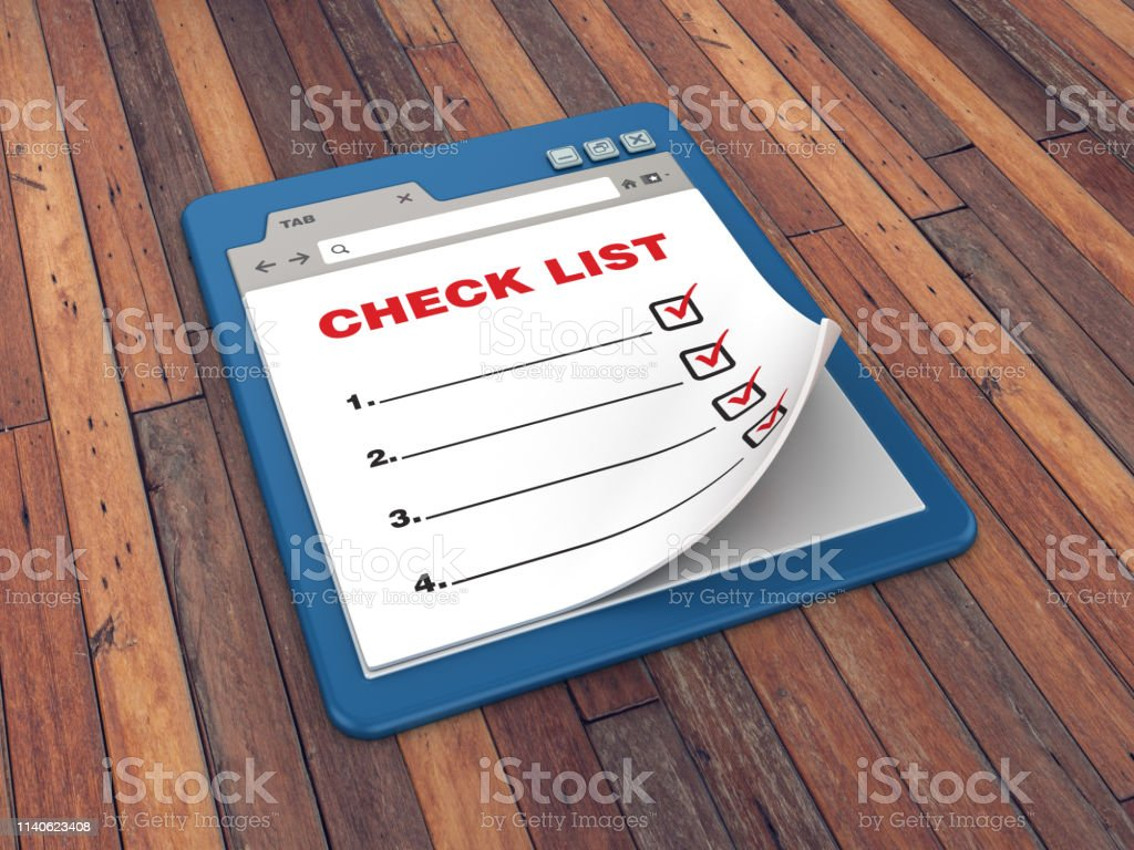 Web Browser with Check List on Wood Floor Background - 3D Rendering